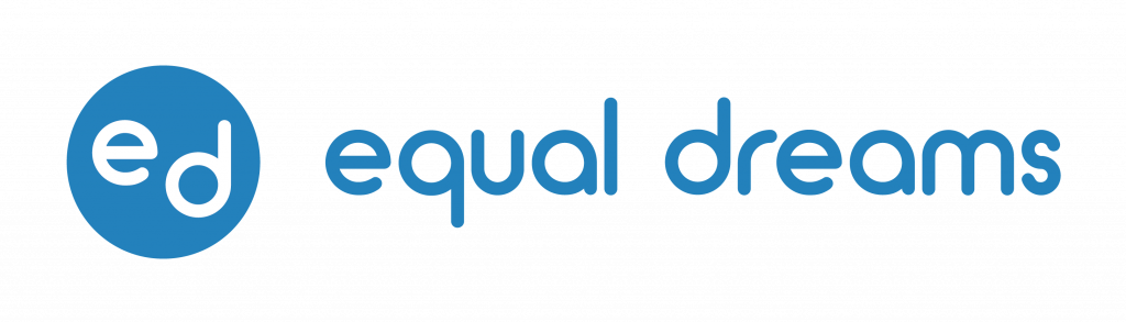 """Equal Dreams is the accessibility partner of Perspectives. The letters """"e"""" and """"d"""" sit within a blue circle on the left of the logo, followed by the words """"equal dreams"""" in light blue"""