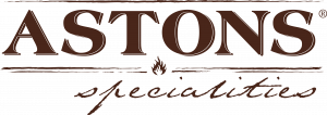 Logo of Astons restaurant. The logo is made up of text that says Astons in bold at the top, and Specialities in cursive at the bottom