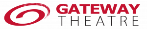 Logo of Gateway Theatre. A red swirl on the left. On the right is the name of the venue. The word Gateway is in red and the word Theatre is in black.