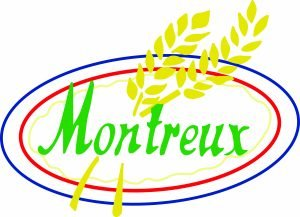 Logo of Montreux Patisserie. The word Montreux is in bright green and is surrounded by a blue oval shape line and a red oval shaped line within the blue line. A smaller yellow wavy oval shape sits within the red oval line. There are two stalks of wheat across the logo.